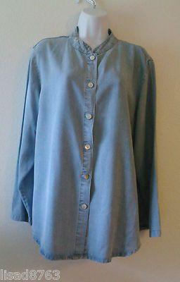 Toofan SZ XL Top Tunic Mandarin Collar 100% Tencel Light Blue Denim Look Shirt