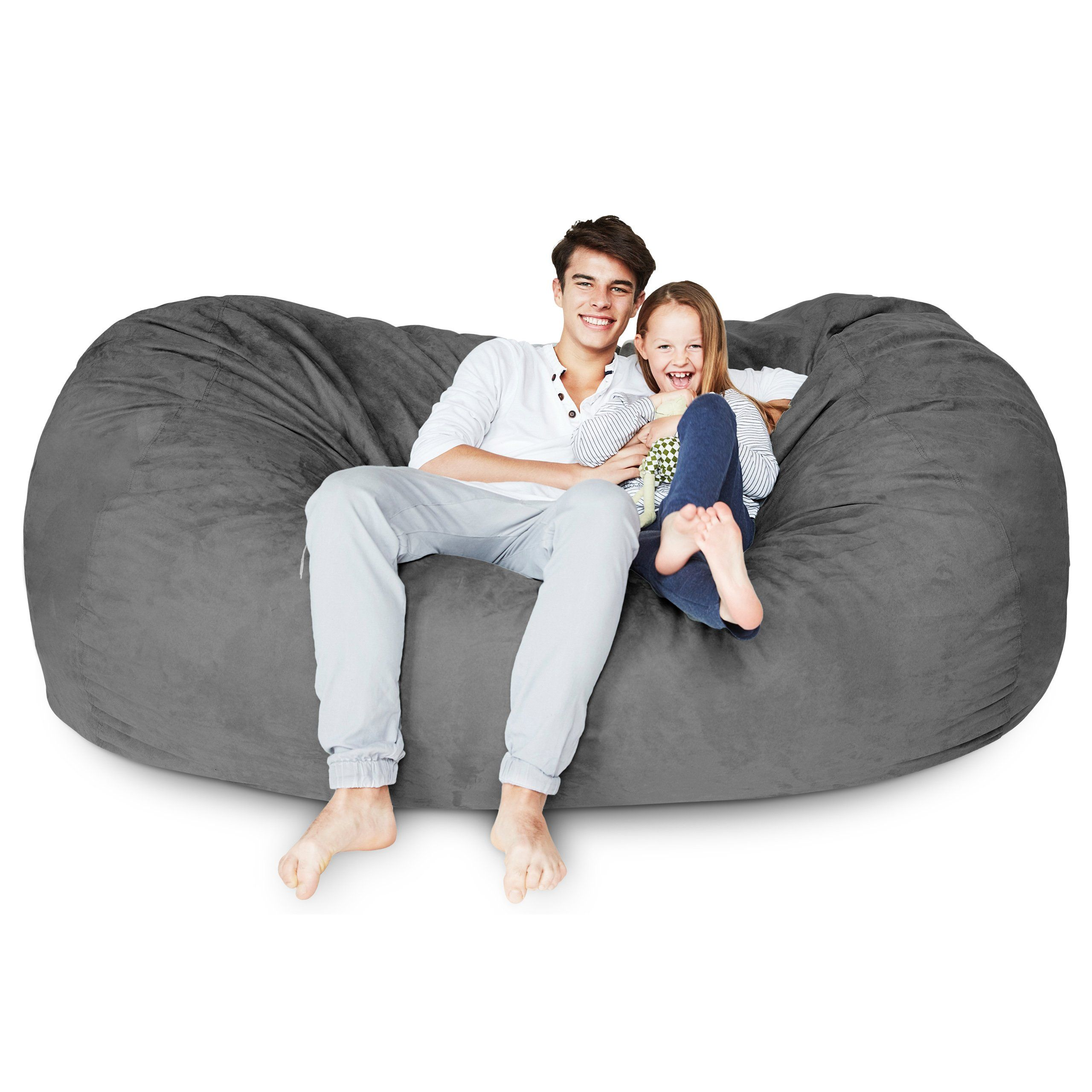 Lumaland Luxury 7foot Bean Bag Chair With Microsuede Cover Dark