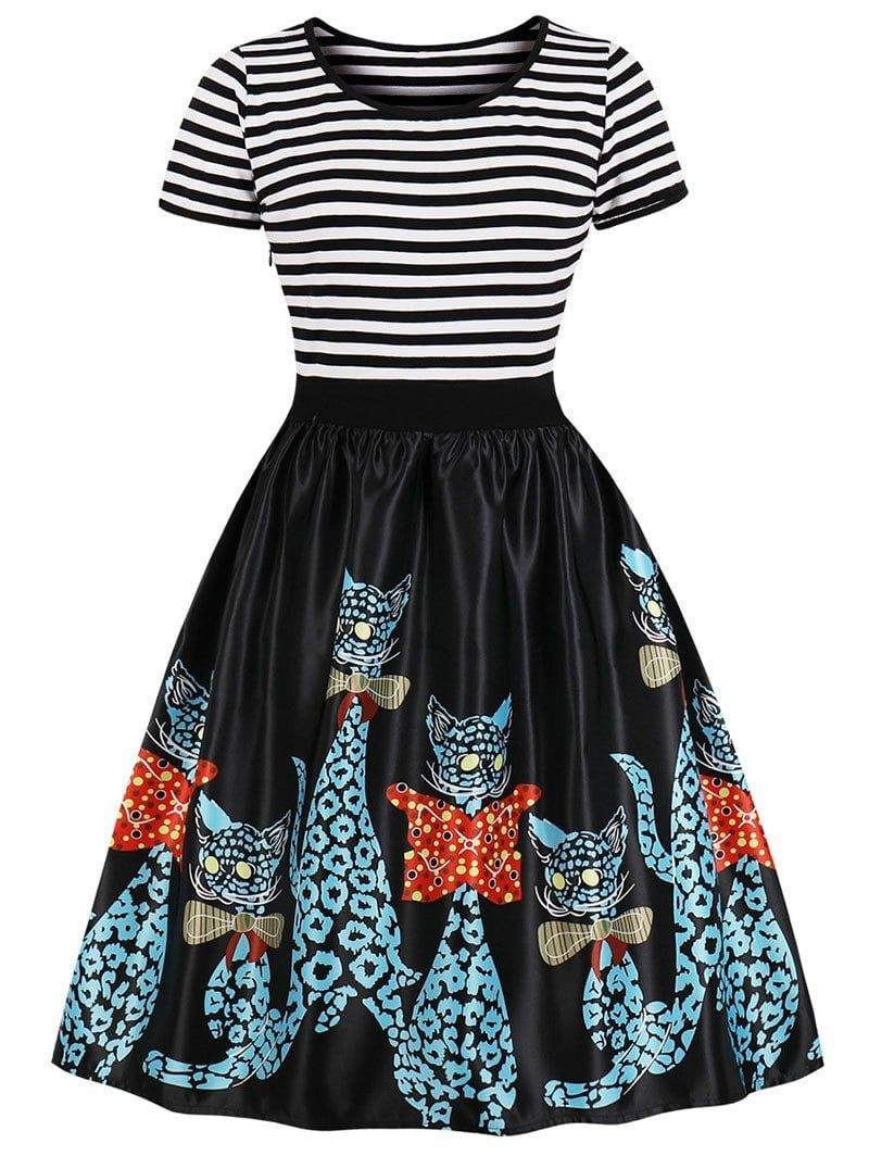 70e57a0585 Stripe Cat Print Fit and Flare Dress - BLACK M | Marvel universe ...