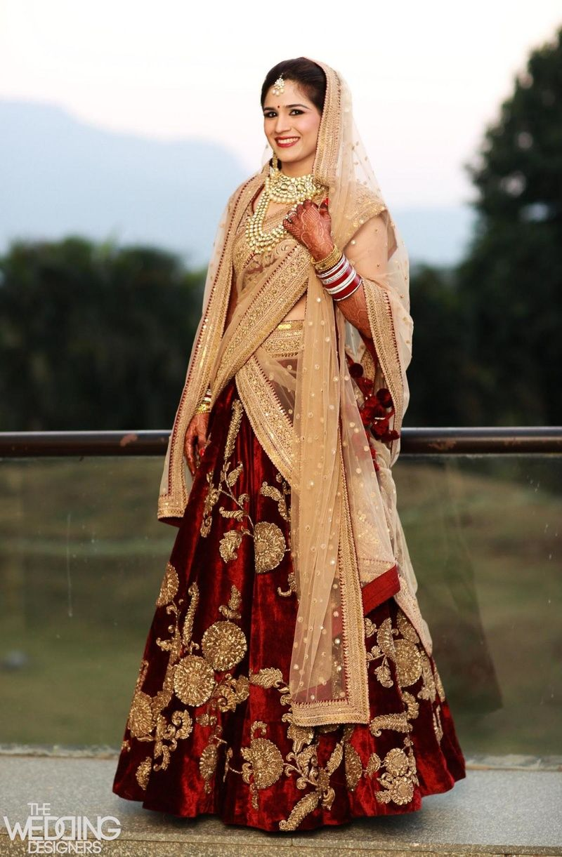 f1bb7ab8cd Beautiful maroon velvet lehenga | Wedding Wizardry | Bridal lehenga ...