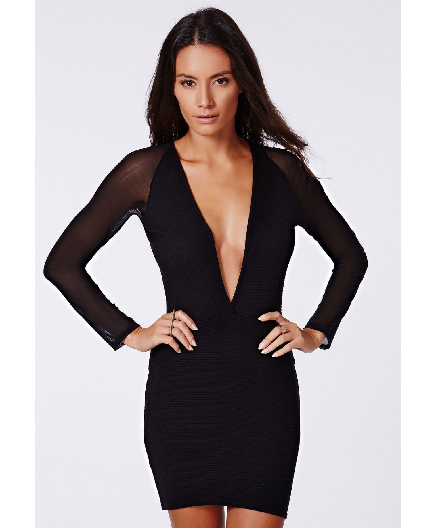 Missguided Fearne Mesh Sleeve Ribbed Plunge Dress Black Sheer Bodycon Dress Long Sleeve Bodycon Dress Long Sleeve Cocktail Dress [ 1839 x 1516 Pixel ]
