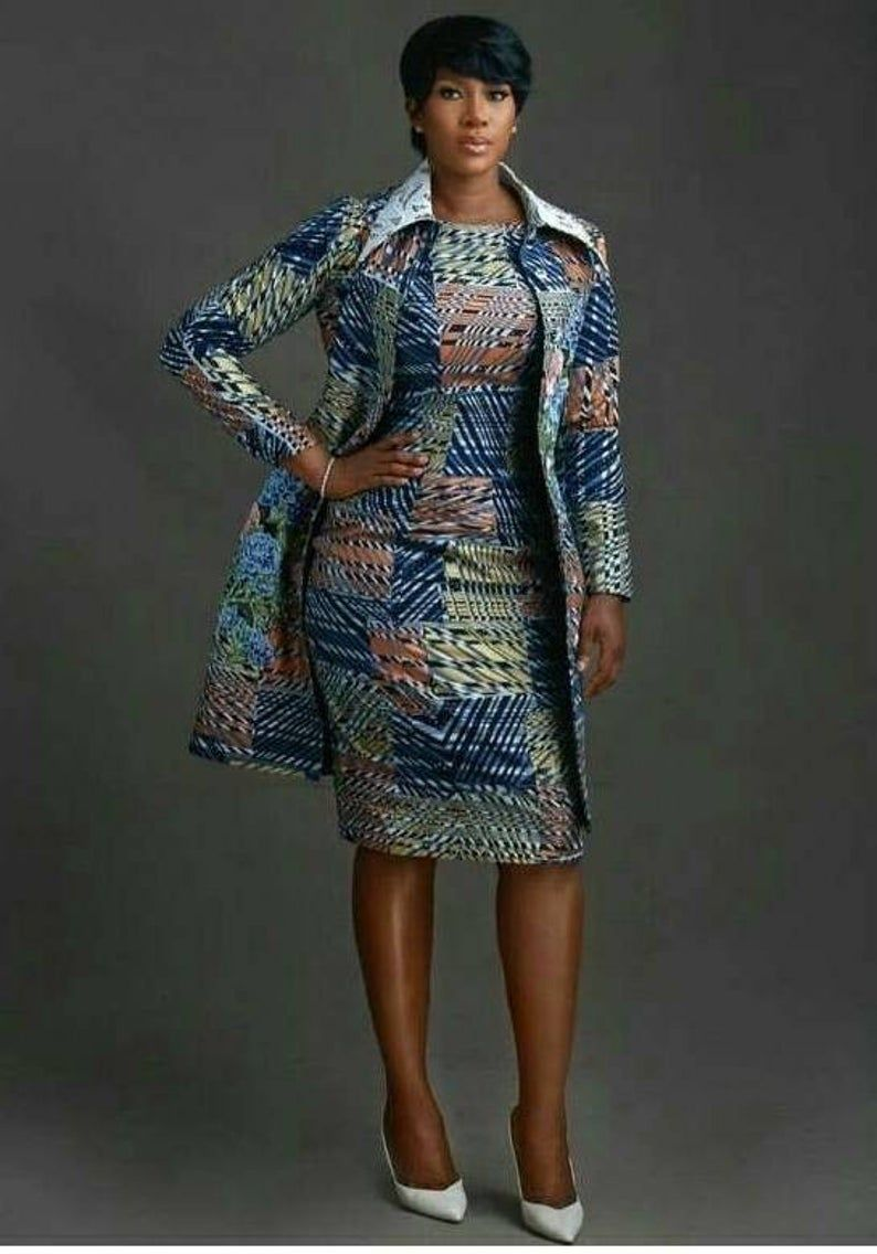 Robe africaine et veste, veste, robe, veste africaine, robe africaine, tenue femme africaine, tenue femme, robe de stephanie Linus, Afrique #africandressstyles
