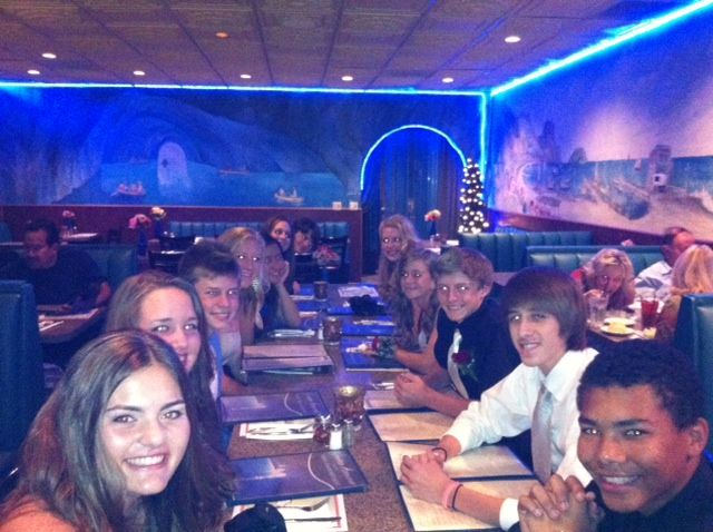 Dinner at Grotto Azura before the Homecoming Dance - we have 4 boxes of pizza leftovers!