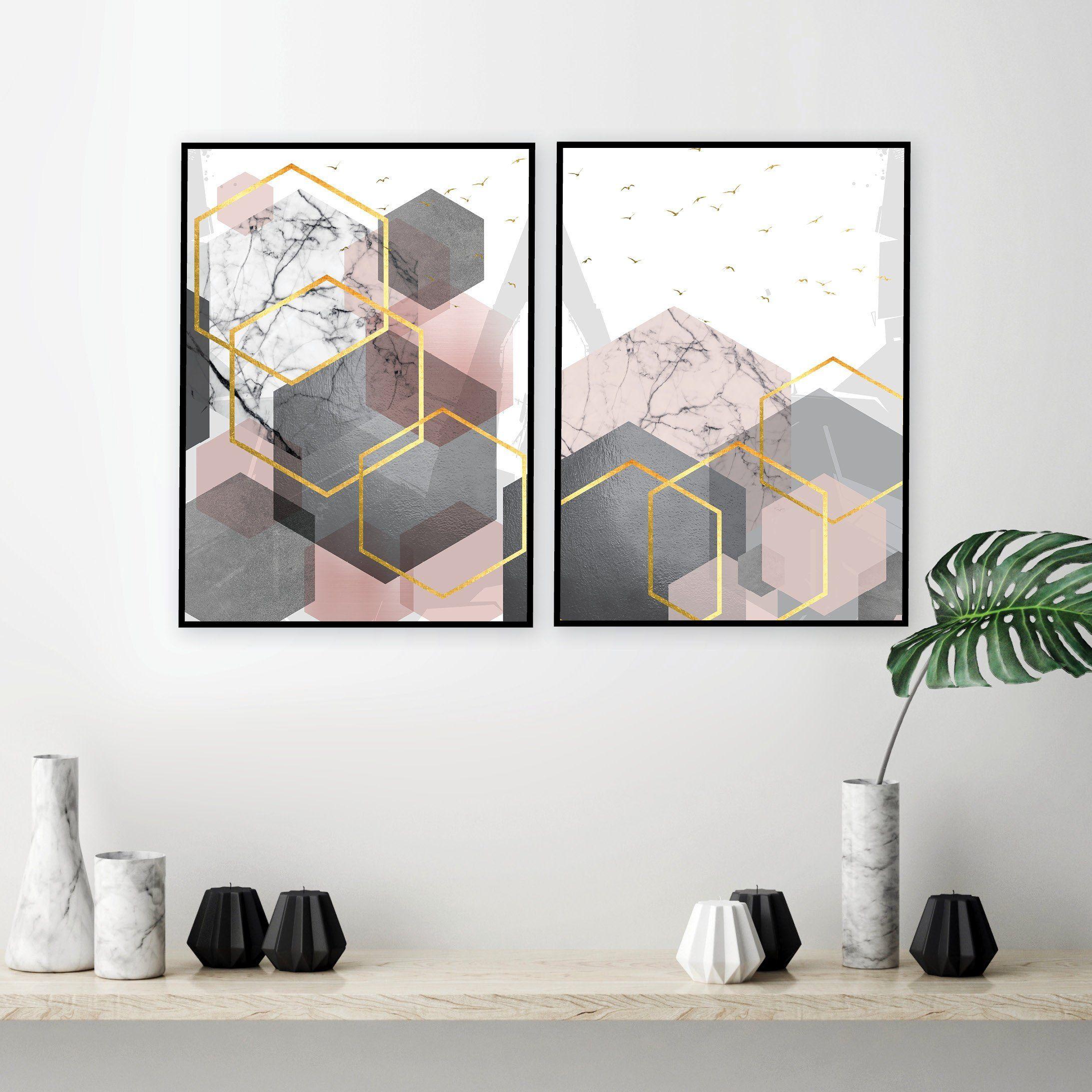 Set Of 2 Printable Blush Pink Grey Gold Geometric Art Prints
