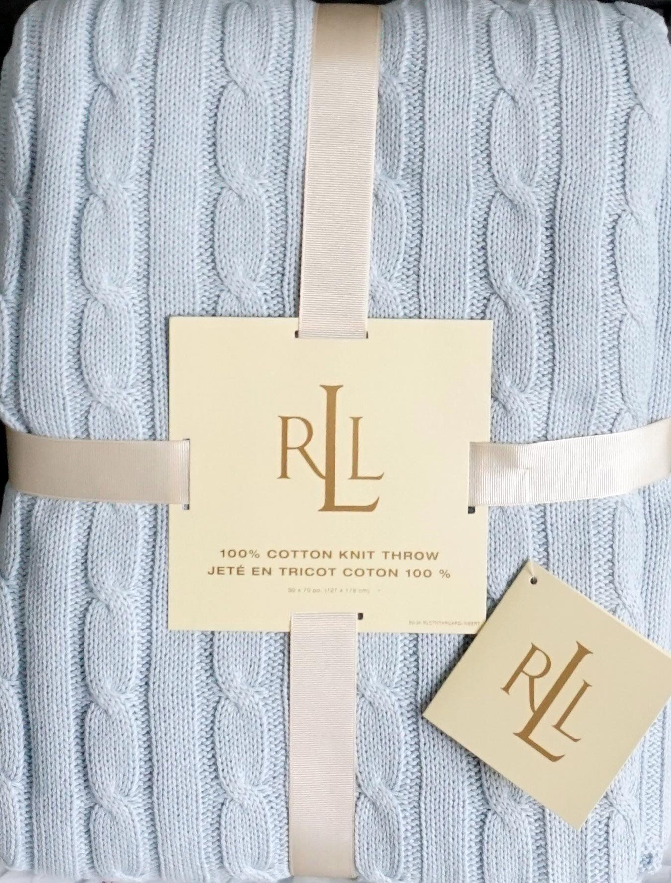 Ralph Lauren Cotton Cable Knit Throw Blanket 50 Inch x 70 Inch