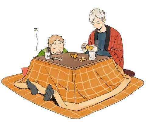 Lev, Kotatsu is so warm.. I'm sleepy...// Yaku-san, try not to sleep and have some oranges.(Yum Yum)