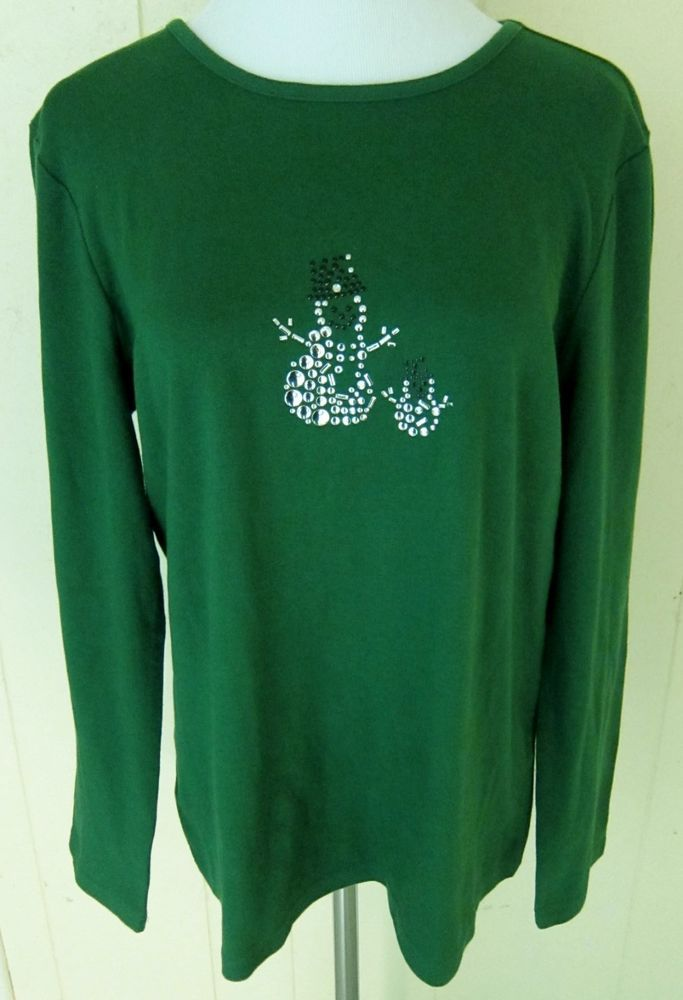 Christopher & Banks Women's Size XL Winter Snowman Green Long Sleeve Top New #ChristopherBanks #KnitTop