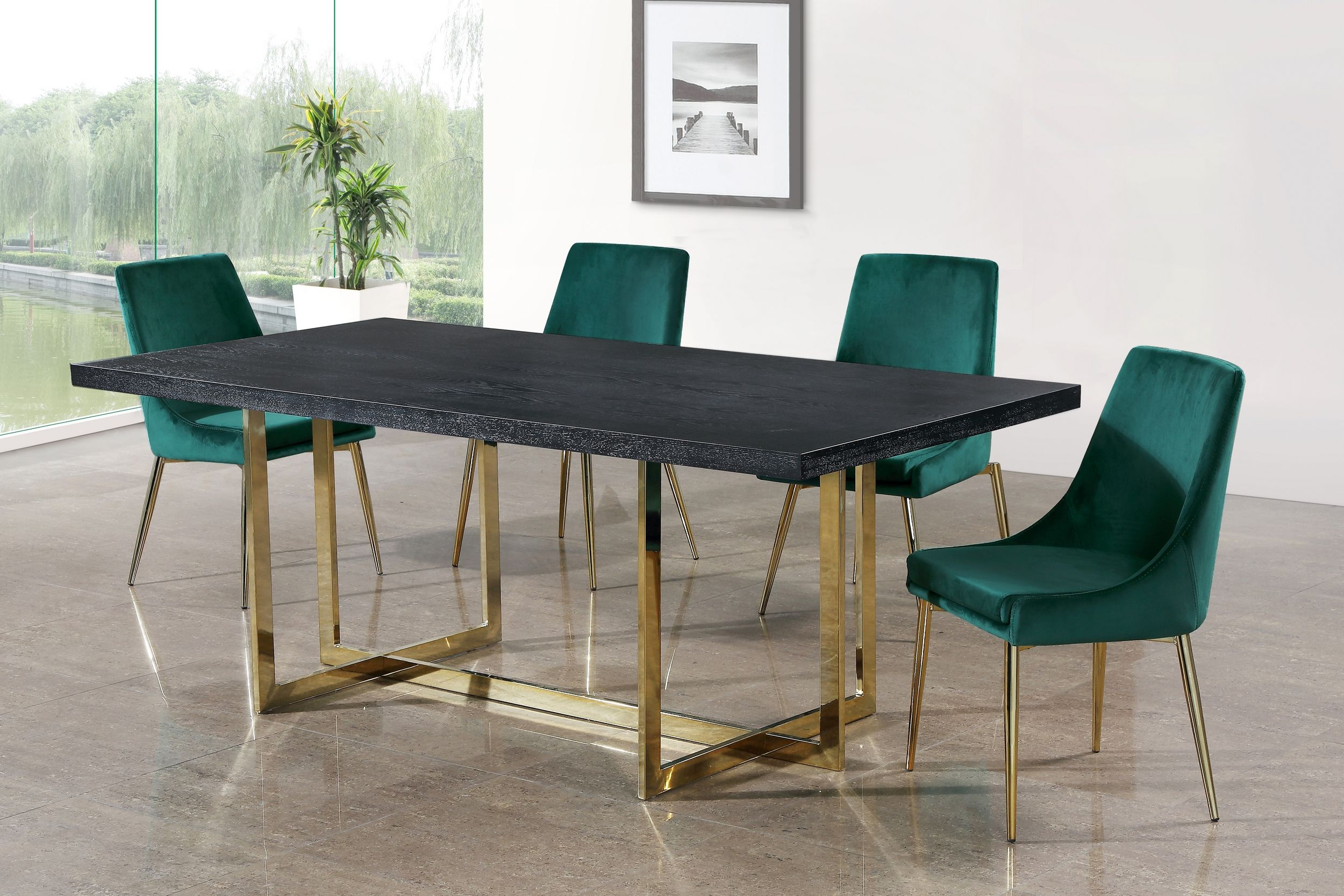 Meridian Elle Karina Green Gold 5 Piece Dining Table Set Reviews Goedekers Com Green Dining Chairs Gold Dining Chairs Green Dining Room