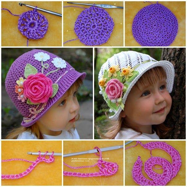 Sombreros encantadores para niñas | Crochet y Dos agujas - Patrones ...