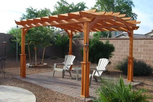 10 Ft X 12 Ft Wood Pergola Pa1012 The Home Depot Wood Pergola Pergola Pergola Patio