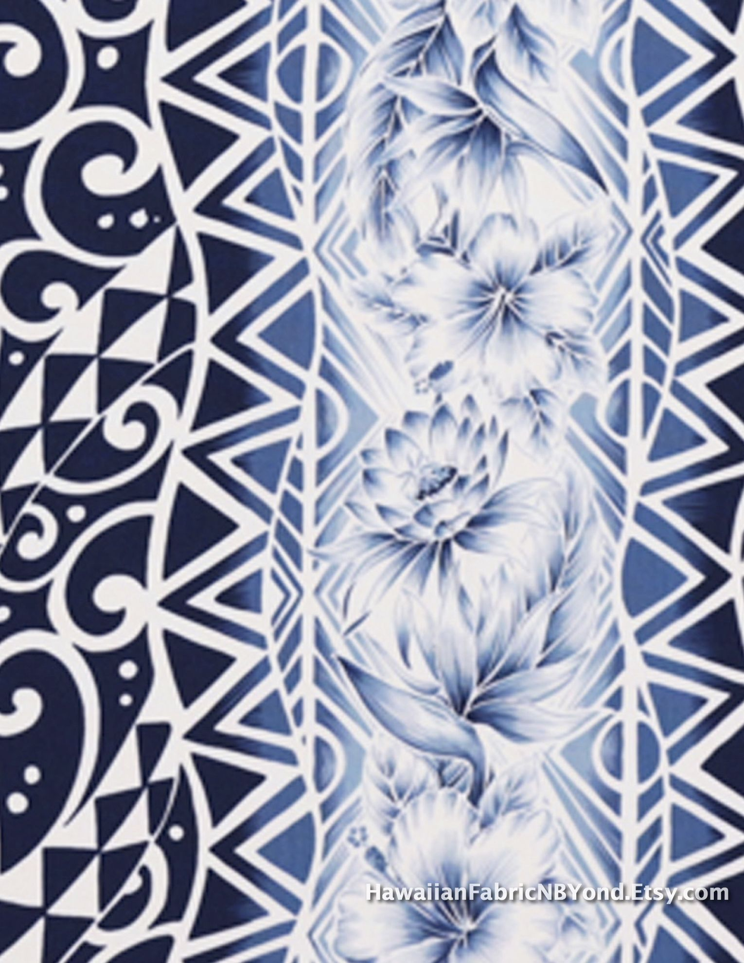 Hawaiian fabric: Tapa patterns and tropical flowers. Cotton. Check ...