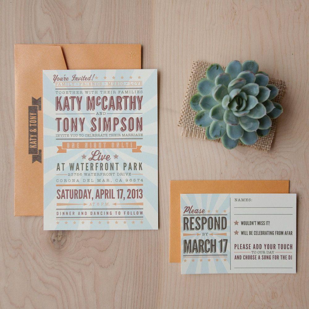 Music Wedding Invitation - vintage poster invitation, Rock Concert ...