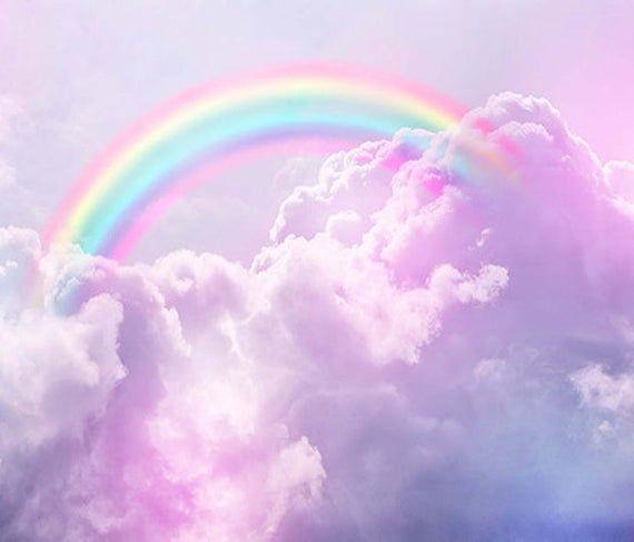 EXTRA LARGE ***Lavender Fantasy Heavens Rainbow in the Sky*** Vinyl Wallpaper Exclusive Design Photo