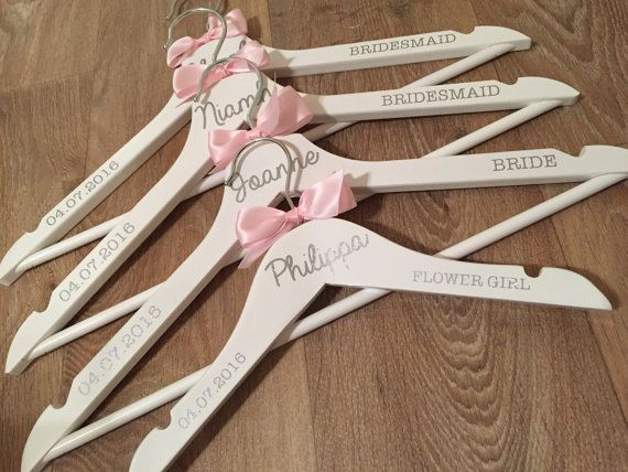 Items Similar To Personalised White Glitter Wedding Dress Hangers Bespoke For The Bride Bridesmaids On Etsy