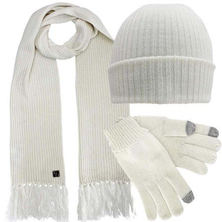 NICE CAPS Womens Fleece Lined Cable Knit Metallic Specks Hat//Scarf//Glove Set