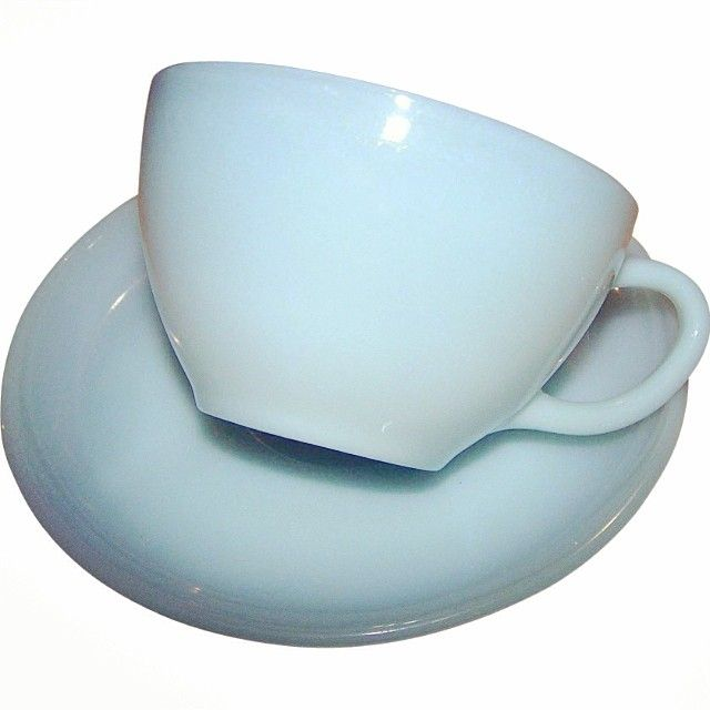 Fire King Delphite Blue tea cup and saucer ($28 Victoria s Purrrrfect Treasures)