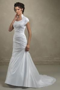 Stand Up Queen Anne Collar And Mermaid Styling With Lace Top Modest Wedding Dress
