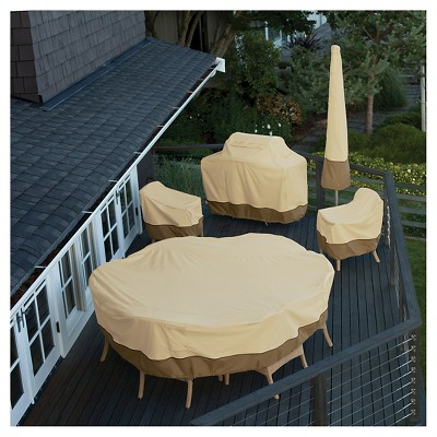 Veranda Medium Square Patio Table And 4 Chairs Cover Light Pebble