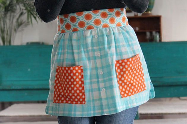Old shirt to apron.