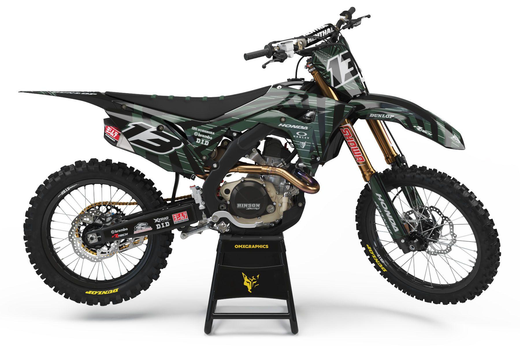 Honda Dirt Bike Graphics Blaze Army In 2020 Honda Dirt Bike Motocross Honda