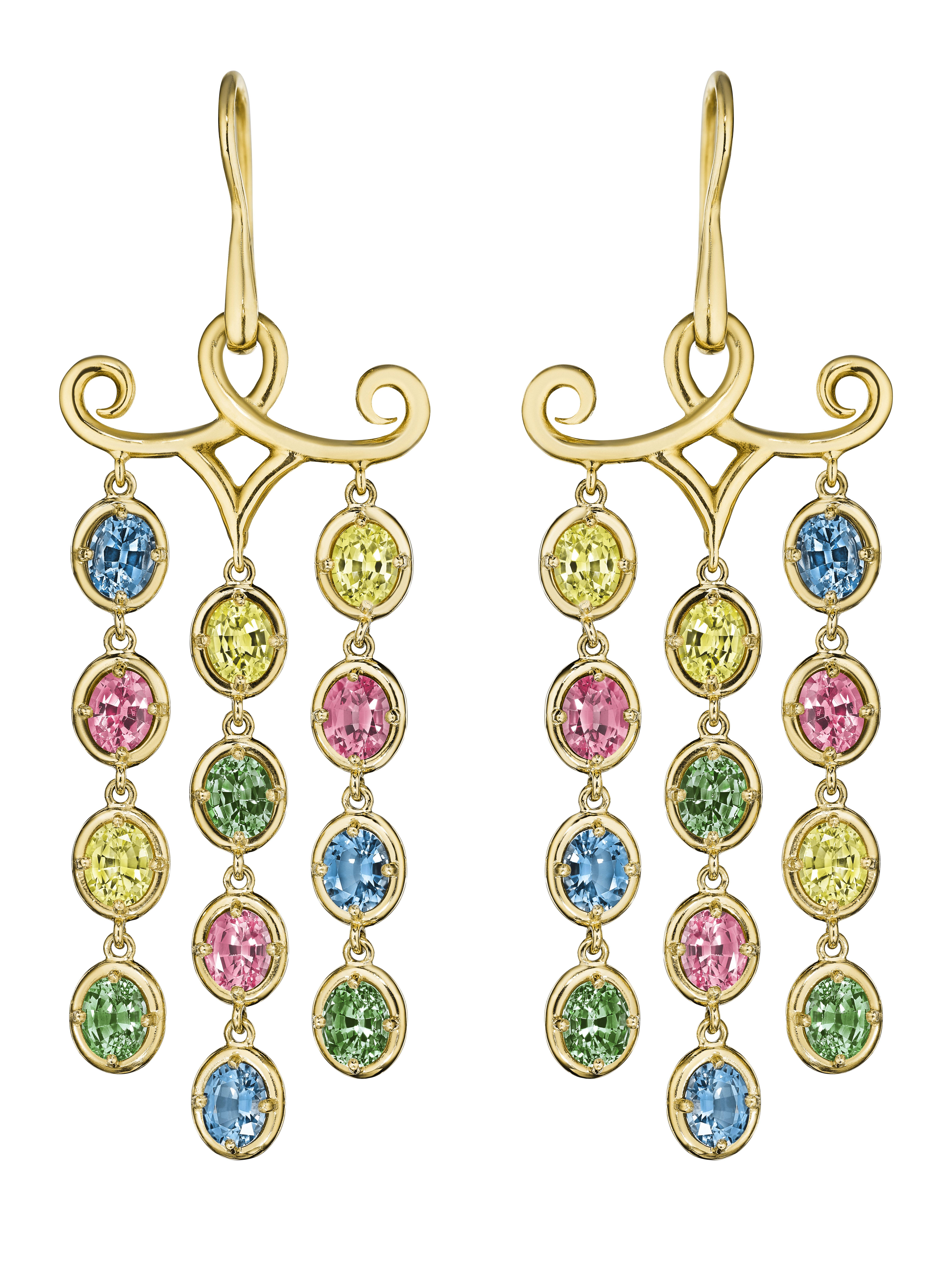 18 karat yellow gold chandelier earrings with rainbow sapphires dangling from a scroll work design #hammerman #hammermanjewels #hammermanbrothers #highjewelry #luxuryjewelry #jewelry #earrings #rainbow #sapphires