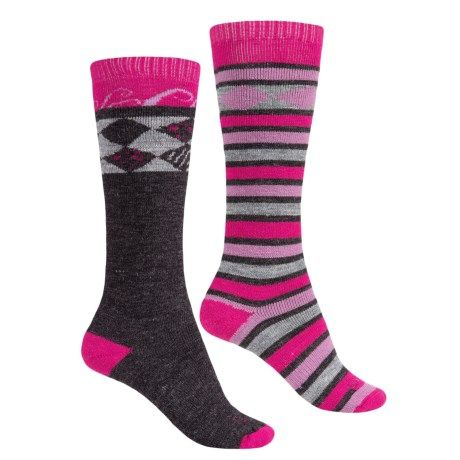 Lorpen Merino Wool Ski Socks - 2-Pack, Over the Calf (For Men and Women) in Berry Charcoal-small