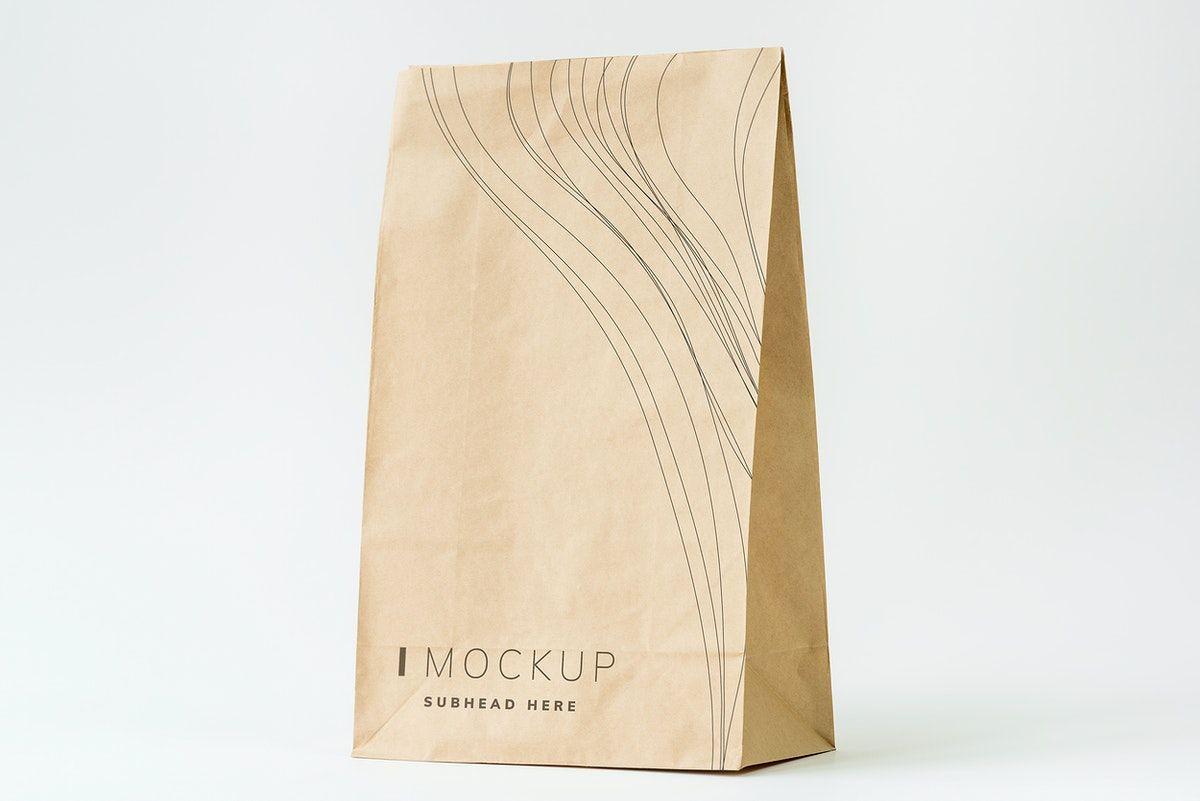 Download Download Premium Psd Of Paper Bag Mockup On White Background 502899 Bag Mockup Paper Bag Food Mockup