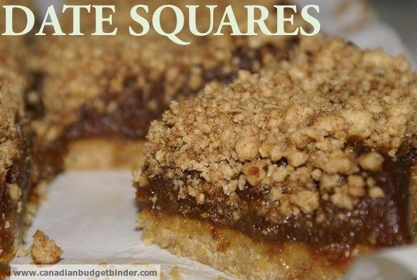 Extra-Thick Classic Date Squares - Canadian Budget Binder