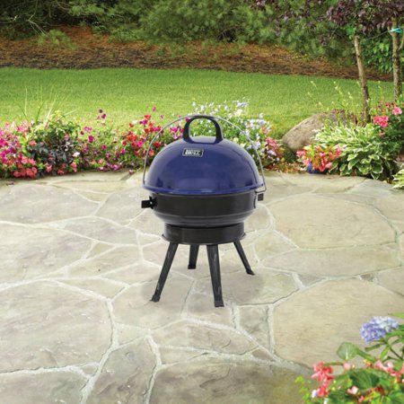 Backyard Grill 14.5 inch Round Portable Charcoal Grill, Blue - Backyard Grill 14.5 Inch Round Portable Charcoal Grill, Blue