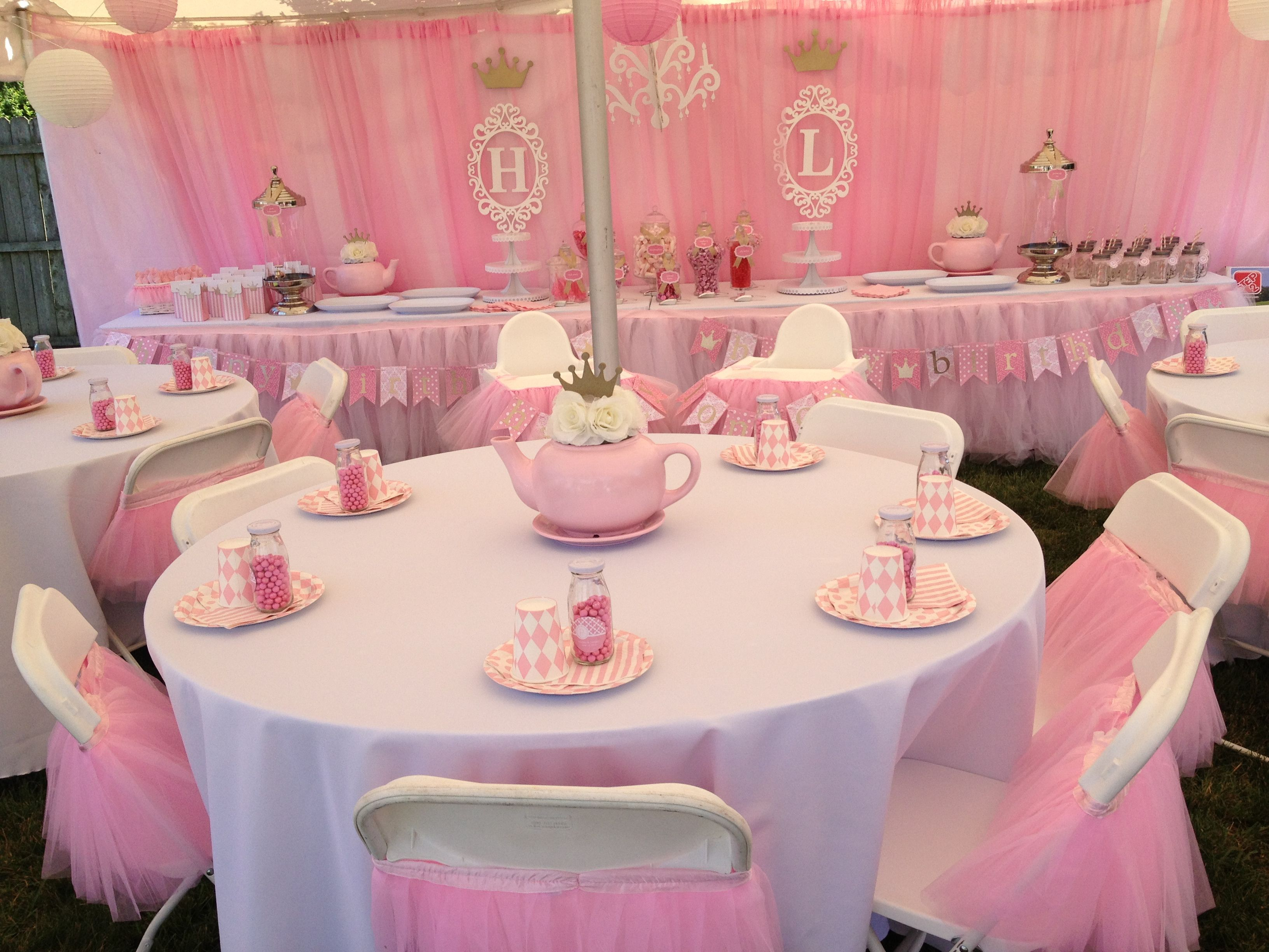 Princess 1st birthday party for our twins Hadley and Londons table