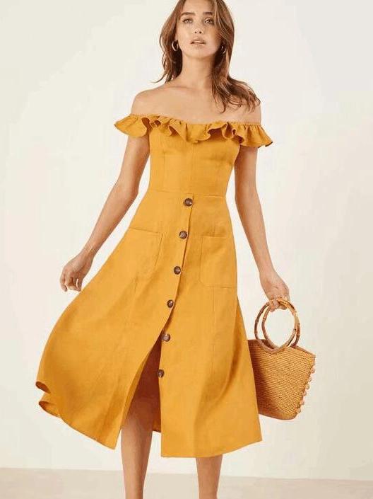fcdc4821b7 Euro Ruffles Off Shoulder Yellow Dress