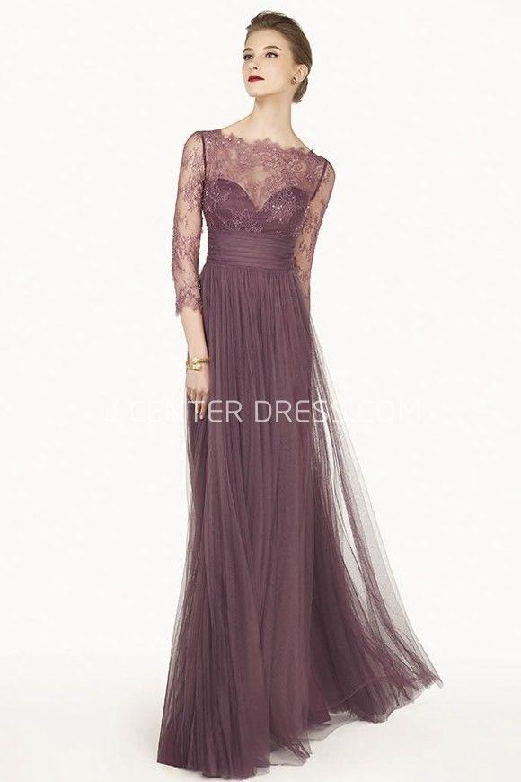 Sheath Lace Bateau-Neck Maxi 3-4-Sleeve Tulle Prom Dress With Pleats ...