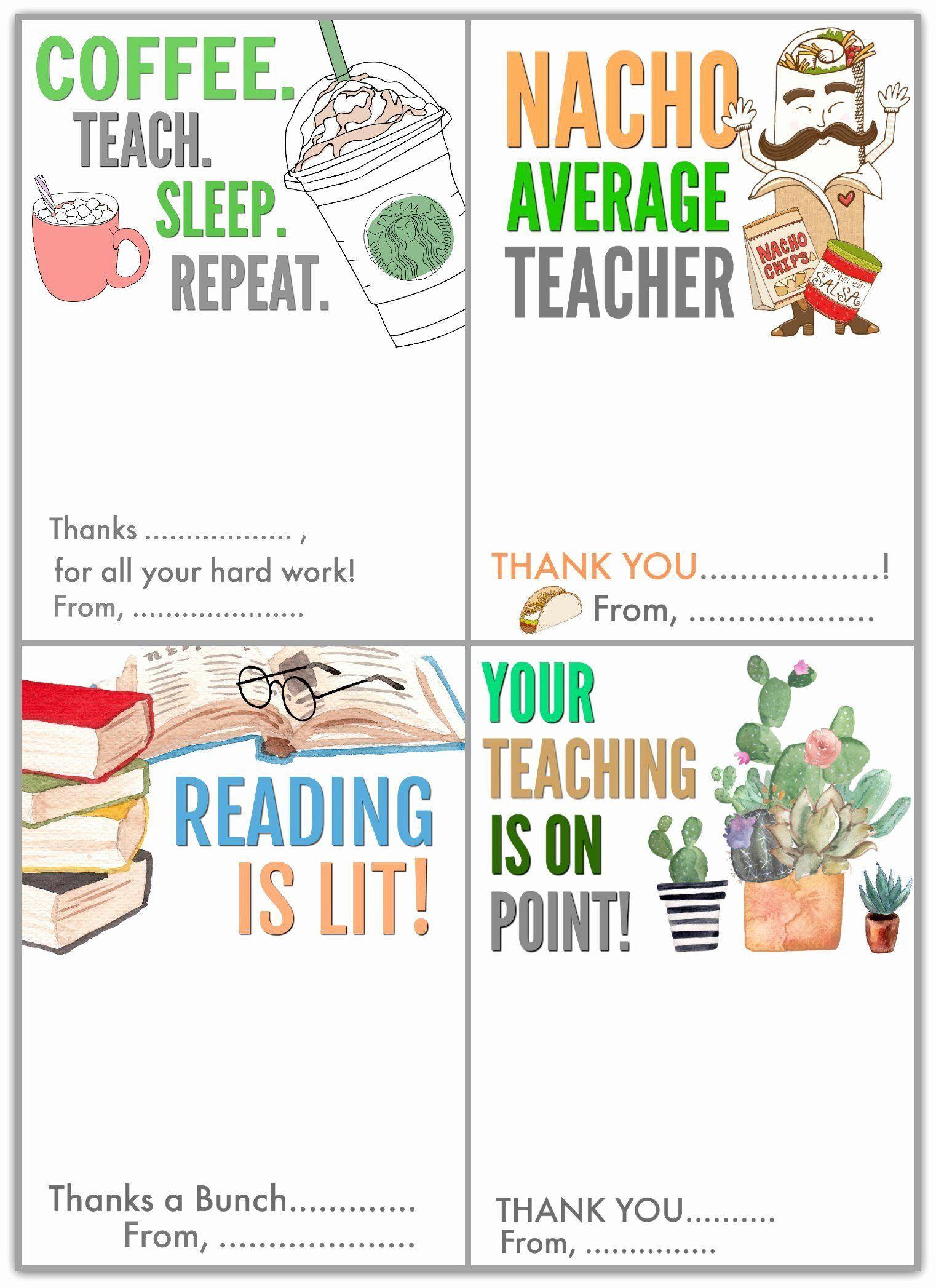 Teacher Appreciation Card Template In