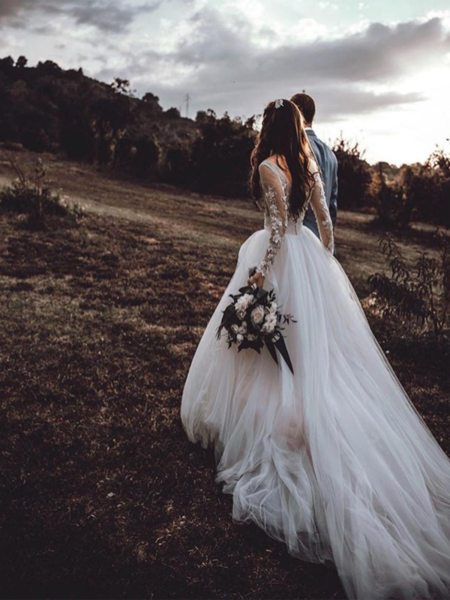Simple A-Line V-Back Long Sleeves Tulle Long Wedding Dresses With Lace,VPWD410 #bohoweddingdress