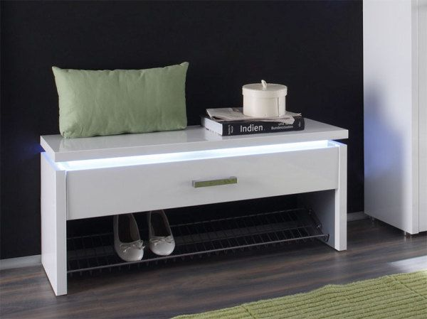 Luce 1 Drawer Contemporary Shoe Storage Bench In Choice Of Finish