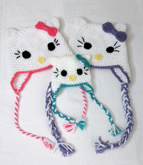 Hello Kitty Crochet Hat Pattern Hello Kitty Beanie And Earflap