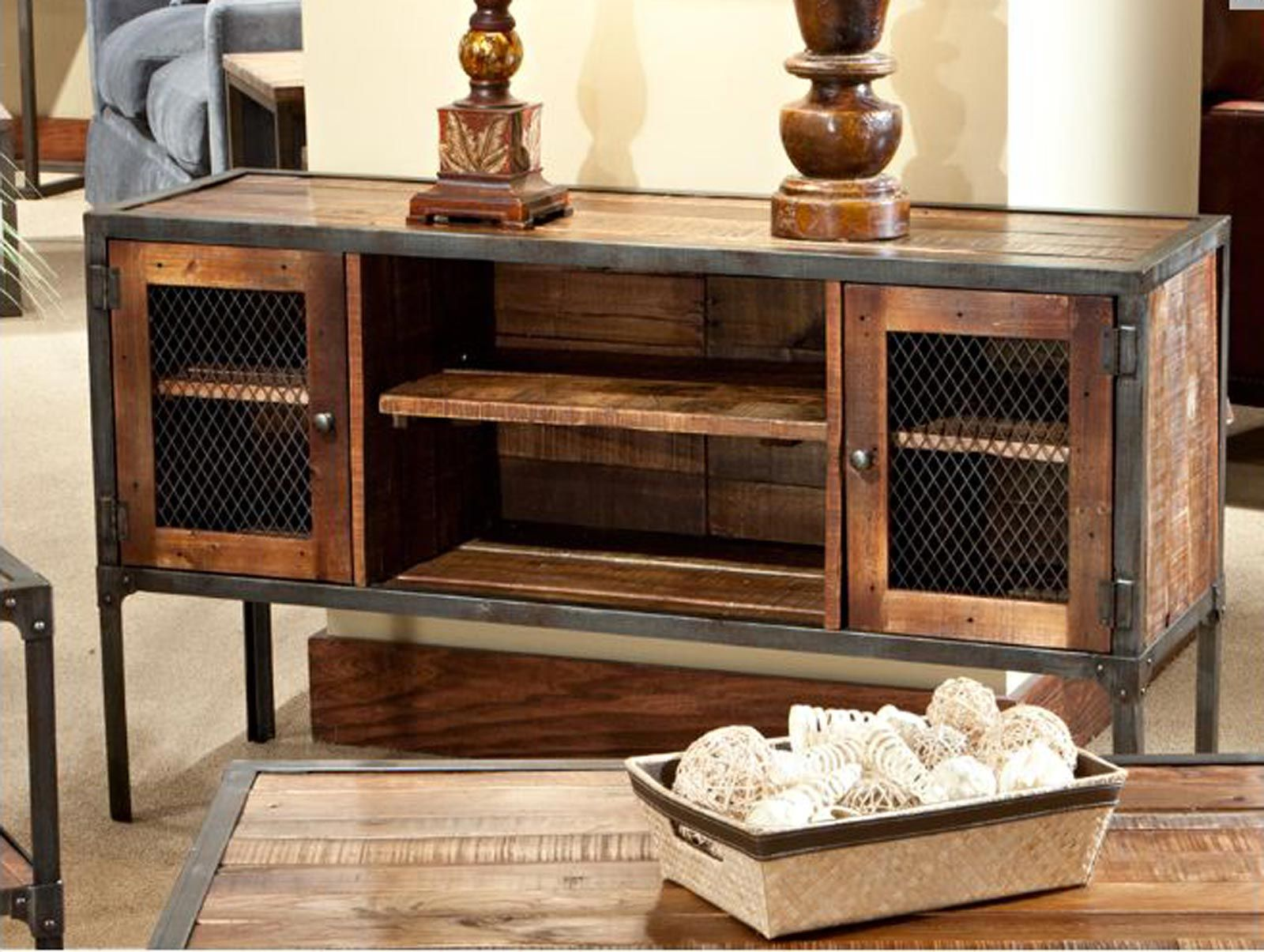 Iron reclaimed wood entertainment center rustic industrial reclaimed wood iron metal console - Sofa table with cabinets ...