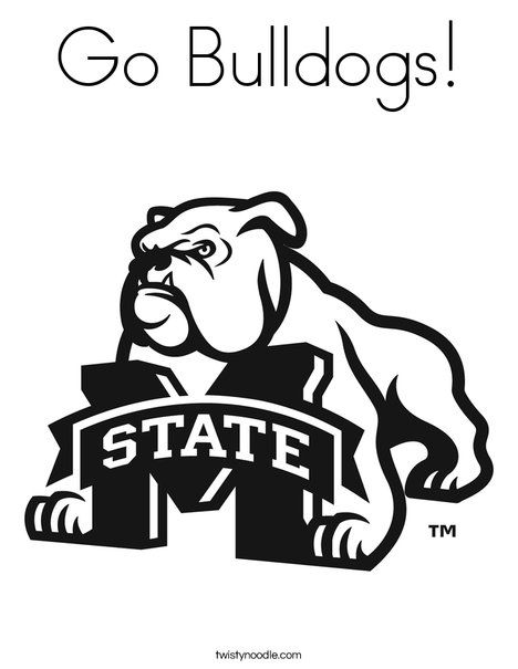 msu mascot coloring pages | Go Bulldogs Coloring Page - Twisty Noodle | Mississippi ...