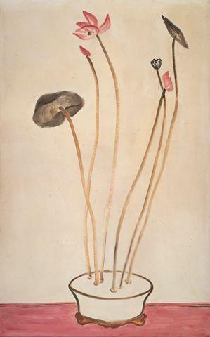 Sanyu (Chinese, 1901 - 1966). Worked in Paris. Pink Lotus,  1940s. Oil on masonite,