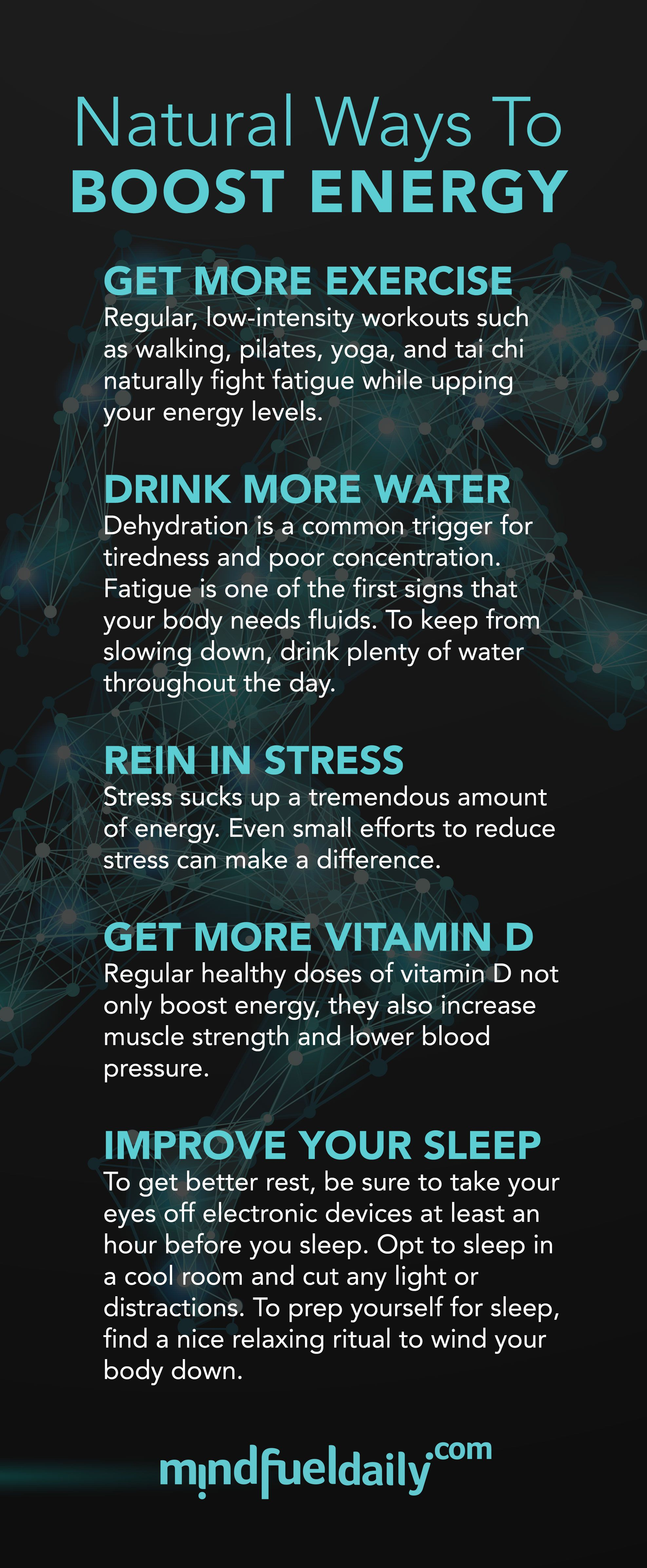 Natural Ways to Boost Energy Boost energy Low intensity workout Energy level