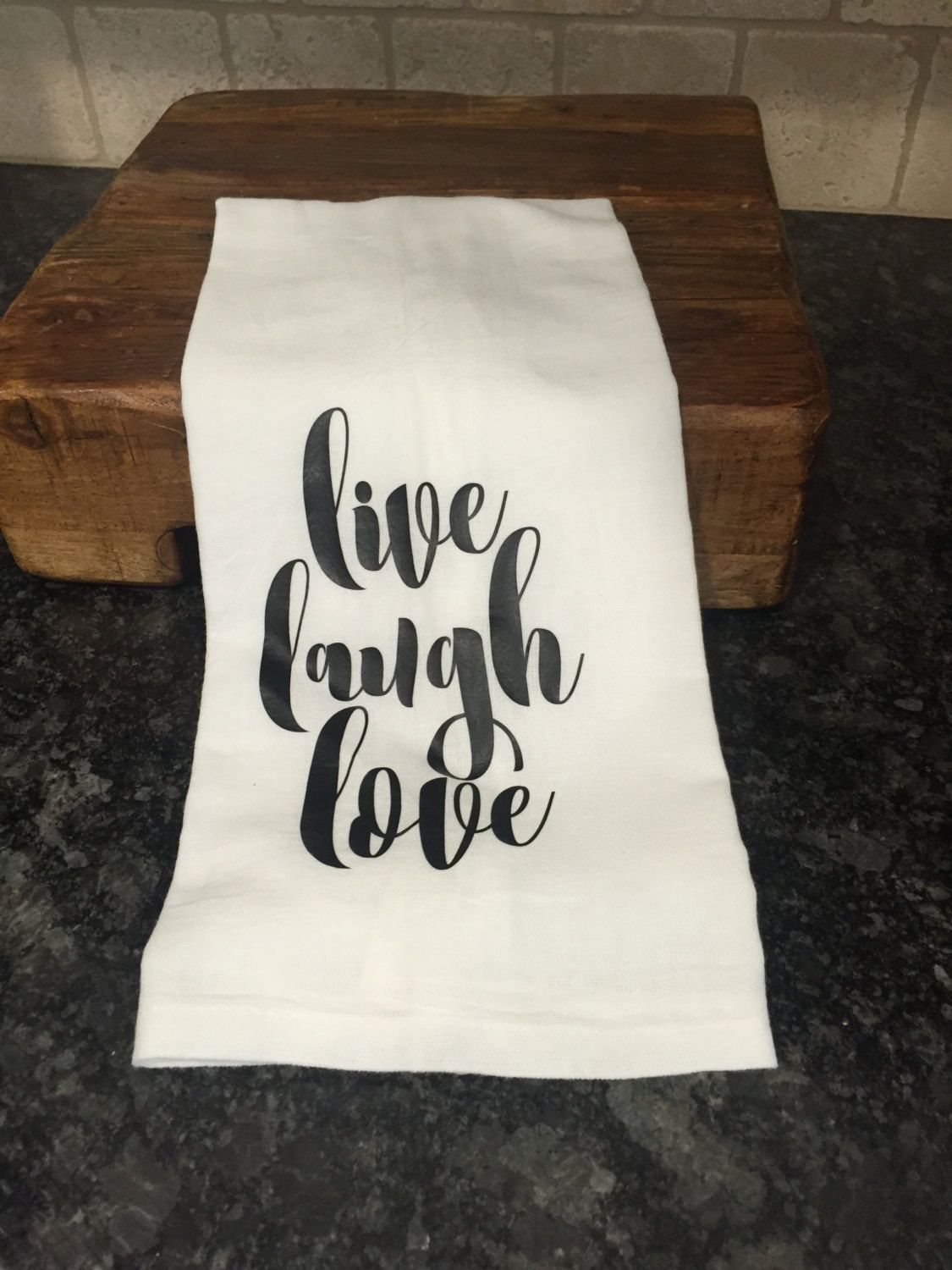 Sack Cloth Tea Kitchen Dish Towel With Heat Transfer Vinyl