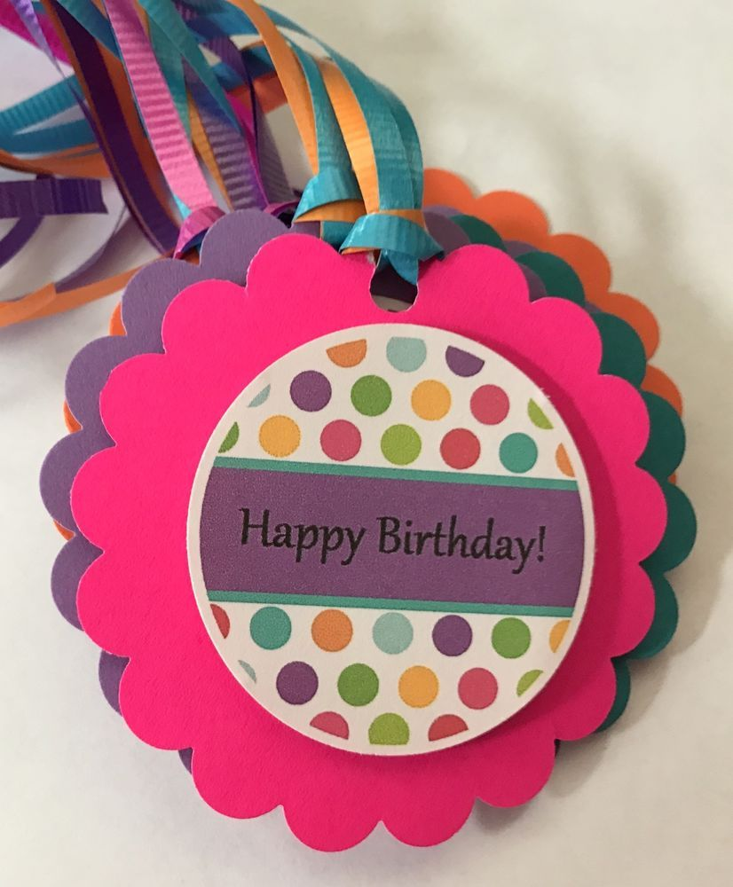 Happy Birthday Gift Tags Unisex Bag Card Party Favor Treat Goodie 8P