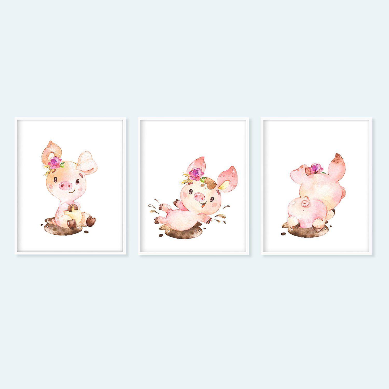 COW Children/'s Nursery Bedroom PIG Farm Animal prints x 3 HORSE