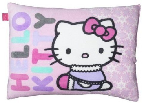 """Hello Kitty Bed Pillow by Hello Kitty. $33.52. Weave Type: Micro Plush. Hello Kitty Pillow with gift bow and""""TO: & FROM'' tag attached.  Pillow is a nice soft plush.. Hello Kitty Pillow with gift bow and""""TO: & FROM'' tag attached.  Pillow is a nice soft plush. Weave Type: Micro Plush Textile Material: Polyester ( 100 %) Fill Material: Polyester ( 100 %) Care and Cleaning: Spot Clean Only Dimensions: 26.0 """" L x 20.0 """" W"""