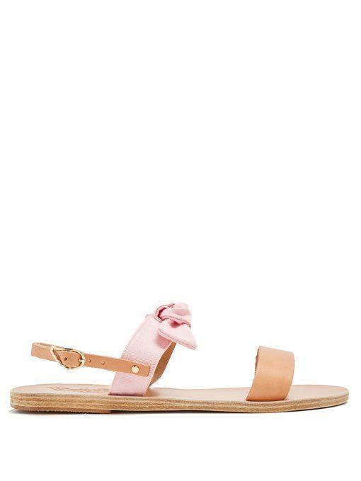 Clio bow-embellished leather and denim sandals Ancient Greek Sandals qjpJpm
