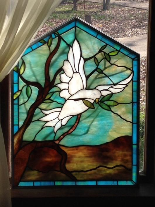 Dove In Flight - from Delphi Artist Gallery by Marks glass