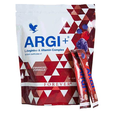 Vitalité, force, endurance, sport extrême, Forever Argi + est un complément à base de L-arginine, ribose, vitamines et plantes avec sucres et édulcorants,...
