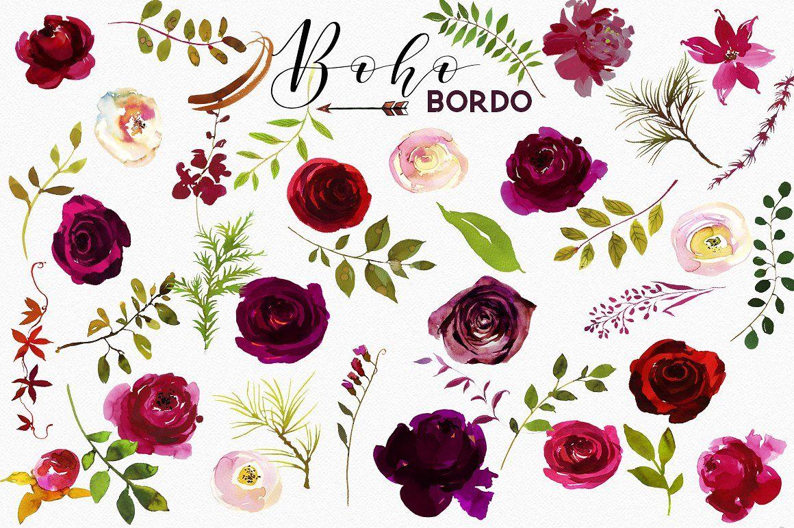 Boho Bordo Watercolor Flowers Flor Aquarela Ideias