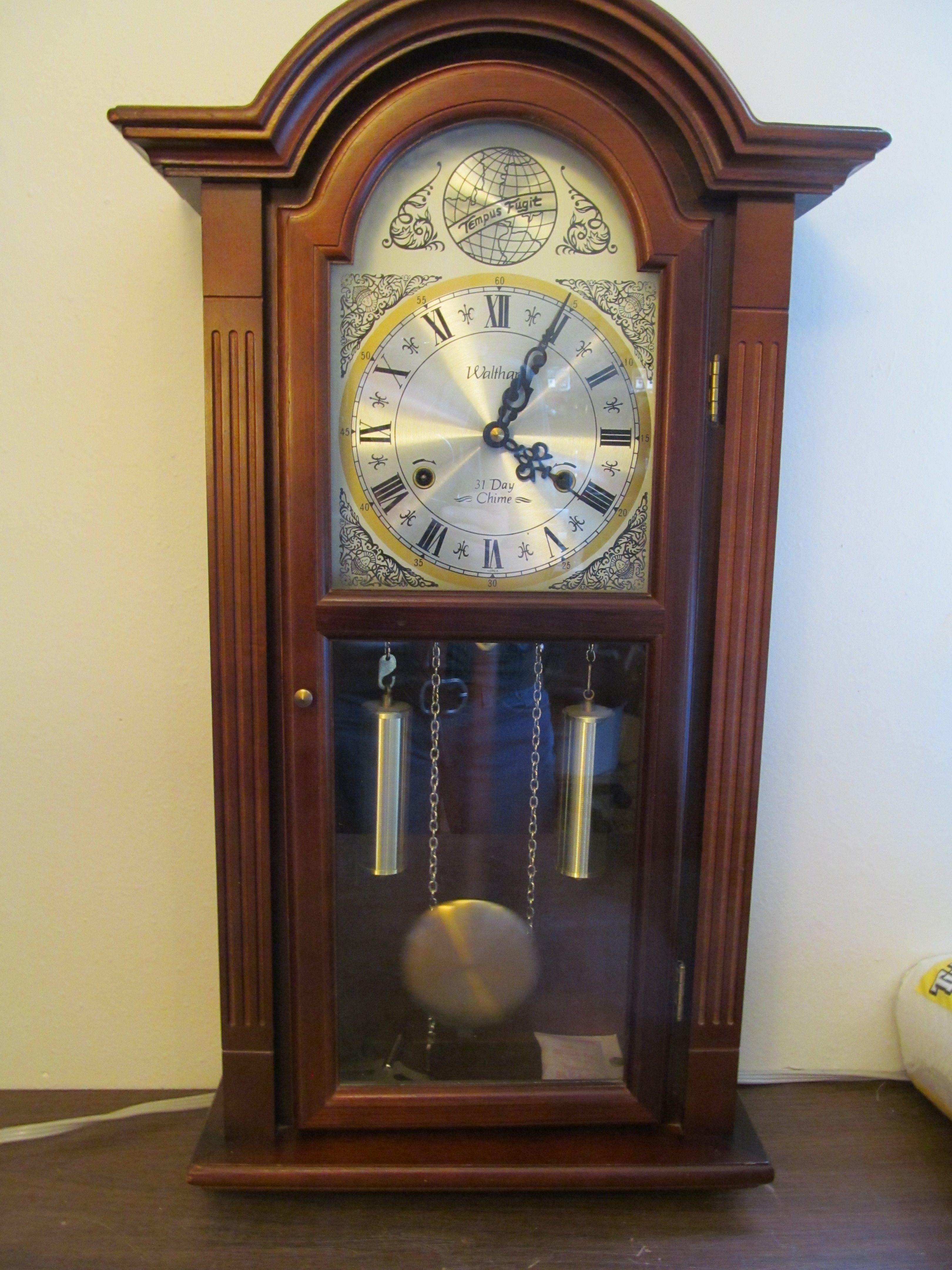 Waltham tempus fugit walnut pendulum 31 day chime 2 pipe wall waltham tempus fugit walnut pendulum 31 day chime 2 pipe wall clock amipublicfo Image collections