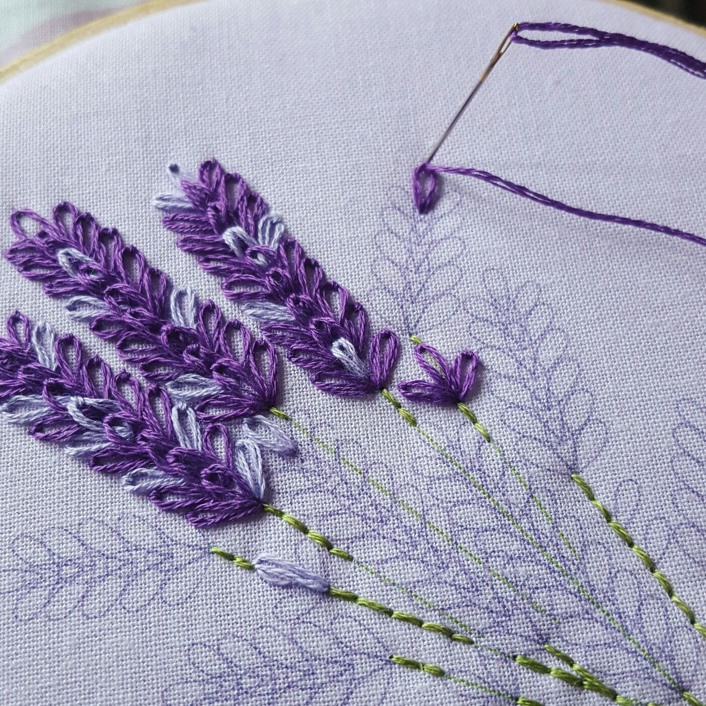 Lavender embroidery kit floral set wildflowers